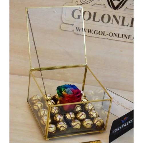 باکس گل جاودان با شکلات